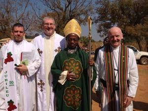 Fr. John Bishop, Fr. Michael Kelleher, Bishop Dom Ignatius, Fr. Brian Holmes